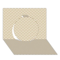 Gold And White Chevron Wavy Zigzag Stripes Circle 3d Greeting Card (7x5)