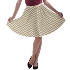 Gold and White Chevron Wavy ZigZag Stripes A-line Skater Skirt