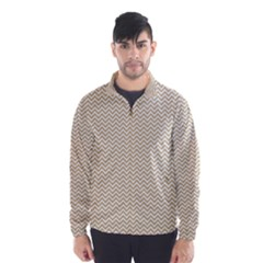 Gold and White Chevron Wavy ZigZag Stripes Wind Breaker (Men)