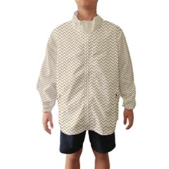 Gold and White Chevron Wavy ZigZag Stripes Wind Breaker (Kids)