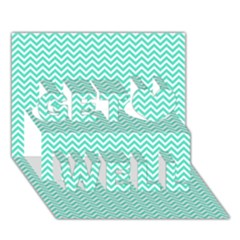 Tiffany Aqua and White Chevron Wavy ZigZag Stripes Get Well 3D Greeting Card (7x5)