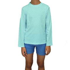 Tiffany Aqua and White Chevron Wavy ZigZag Stripes Kid s Long Sleeve Swimwear