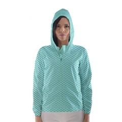 Tiffany Aqua and White Chevron Wavy ZigZag Stripes Hooded Wind Breaker (Women)