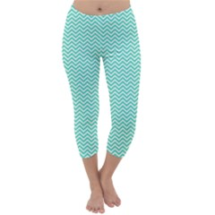 Tiffany Aqua and White Chevron Wavy ZigZag Stripes Capri Winter Leggings
