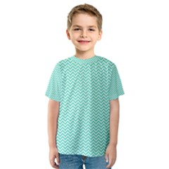 Tiffany Aqua And White Chevron Wavy Zigzag Stripes Kid s Sport Mesh Tees