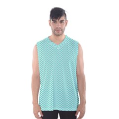 Tiffany Aqua and White Chevron Wavy ZigZag Stripes Men s Basketball Tank Top