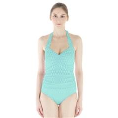 Tiffany Aqua and White Chevron Wavy ZigZag Stripes Women s Halter One Piece Swimsuit