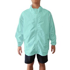 Tiffany Aqua And White Chevron Wavy Zigzag Stripes Wind Breaker (kids)