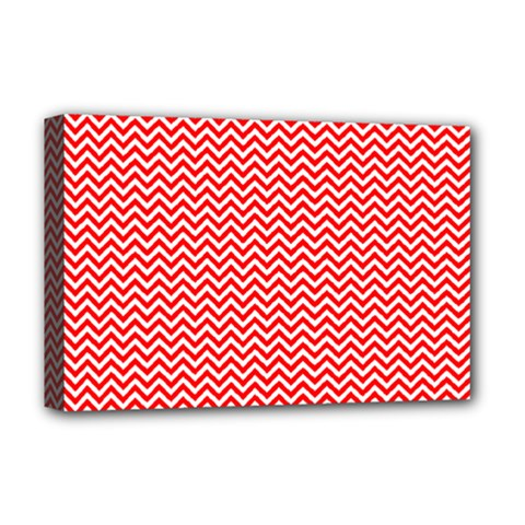 Red And White Chevron Wavy ZigZag Stripes Deluxe Canvas 18  x 12