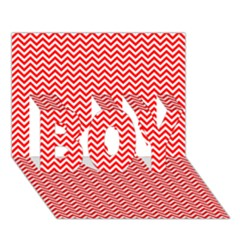 Red And White Chevron Wavy Zigzag Stripes Boy 3d Greeting Card (7x5)
