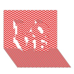 Red And White Chevron Wavy ZigZag Stripes LOVE 3D Greeting Card (7x5)