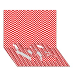 Red And White Chevron Wavy ZigZag Stripes LOVE Bottom 3D Greeting Card (7x5)