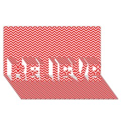 Red And White Chevron Wavy ZigZag Stripes BELIEVE 3D Greeting Card (8x4)