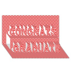 Red And White Chevron Wavy ZigZag Stripes Congrats Graduate 3D Greeting Card (8x4)
