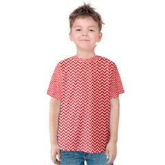 Red And White Chevron Wavy ZigZag Stripes Kid s Cotton Tee