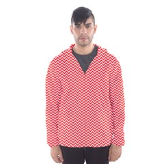 Red And White Chevron Wavy ZigZag Stripes Hooded Wind Breaker (Men)