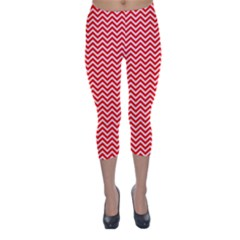 Red And White Chevron Wavy ZigZag Stripes Capri Winter Leggings