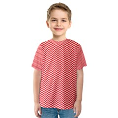 Red And White Chevron Wavy Zigzag Stripes Kid s Sport Mesh Tees