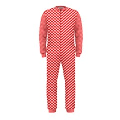 Red And White Chevron Wavy Zigzag Stripes Onepiece Jumpsuit (kids)