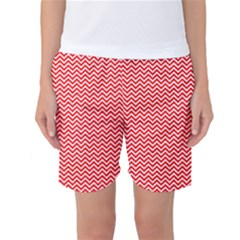 Red And White Chevron Wavy Zigzag Stripes Women s Basketball Shorts