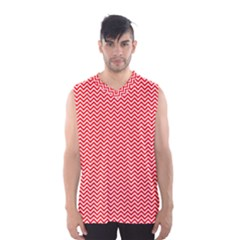 Red And White Chevron Wavy ZigZag Stripes Men s Basketball Tank Top