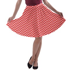 Red And White Chevron Wavy ZigZag Stripes A-line Skater Skirt