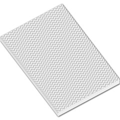 Silver And White Chevrons Wavy Zigzag Stripes Large Memo Pads