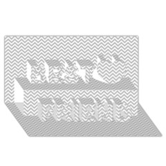 Silver and White Chevrons Wavy ZigZag Stripes Best Friends 3D Greeting Card (8x4)
