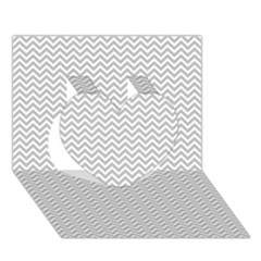 Silver and White Chevrons Wavy ZigZag Stripes Heart 3D Greeting Card (7x5)