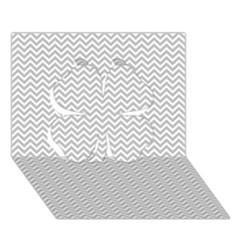 Silver and White Chevrons Wavy ZigZag Stripes Clover 3D Greeting Card (7x5)