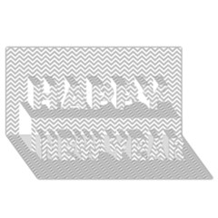 Silver and White Chevrons Wavy ZigZag Stripes Happy New Year 3D Greeting Card (8x4)