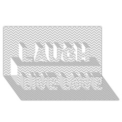 Silver and White Chevrons Wavy ZigZag Stripes Laugh Live Love 3D Greeting Card (8x4)