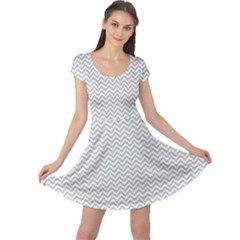 Silver And White Chevrons Wavy Zigzag Stripes Cap Sleeve Dresses