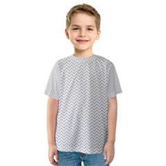 Silver and White Chevrons Wavy ZigZag Stripes Kid s Sport Mesh Tees
