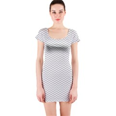 Silver And White Chevrons Wavy Zigzag Stripes Short Sleeve Bodycon Dresses