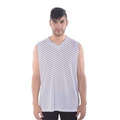 Silver and White Chevrons Wavy ZigZag Stripes Men s Basketball Tank Top