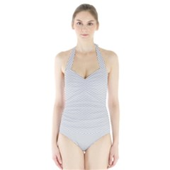 Silver and White Chevrons Wavy ZigZag Stripes Women s Halter One Piece Swimsuit