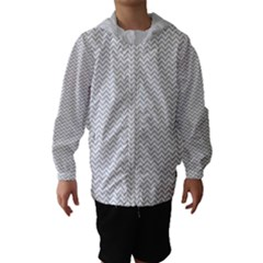 Silver And White Chevrons Wavy Zigzag Stripes Hooded Wind Breaker (kids)