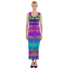 Peace And Groovy Fitted Maxi Dress