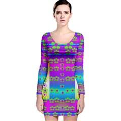 Peace And Groovy Long Sleeve Velvet Bodycon Dress