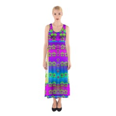 Peace And Groovy Full Print Maxi Dress