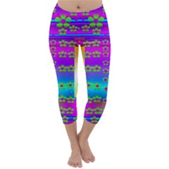Peace And Groovy Capri Winter Leggings