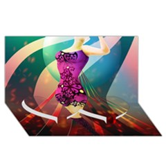The Dreamer Twin Heart Bottom 3D Greeting Card (8x4)