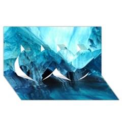 Marble Caves 3 Twin Hearts 3d Greeting Card (8x4)