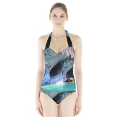 Marble Caves 2 Women s Halter One Piece Swimsuit