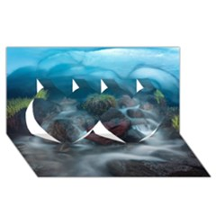 ICELAND CAVE Twin Hearts 3D Greeting Card (8x4)