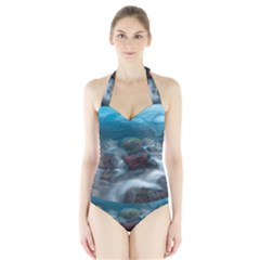 ICELAND CAVE Women s Halter One Piece Swimsuit