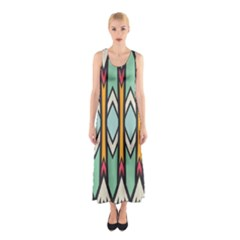 Rhombus and arrows pattern Full Print Maxi Dress
