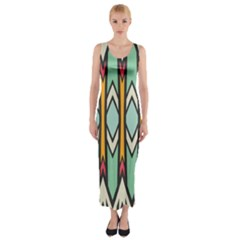 Rhombus and arrows pattern Fitted Maxi Dress