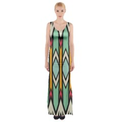 Rhombus And Arrows Pattern Maxi Thigh Split Dress
